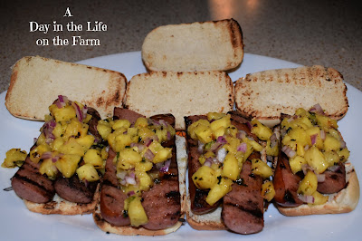 Grilled Kielbasa Sandwiches with Pineapple Relish