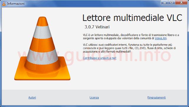 VLC finestra informazioni programma