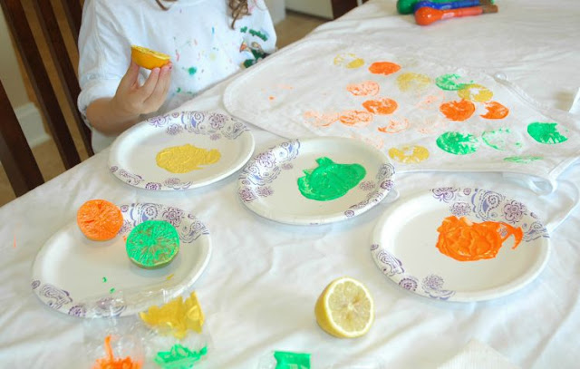 Kids Apron Citrus Stamp Painting Craft