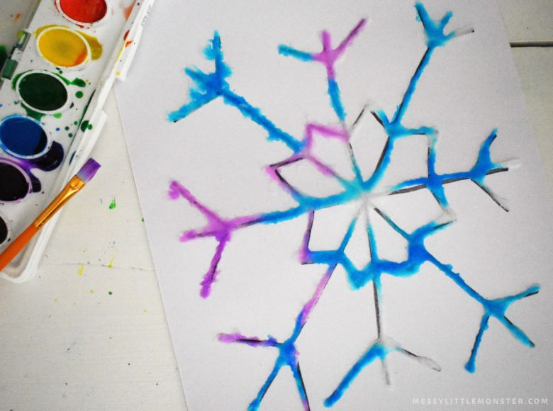 Salt painting snowflake craft for kids