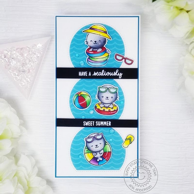 Sunny Studio Stamps: Sealiously Sweet Stitched Semi-Circle Dies Summer Themed Card by Ana Anderson