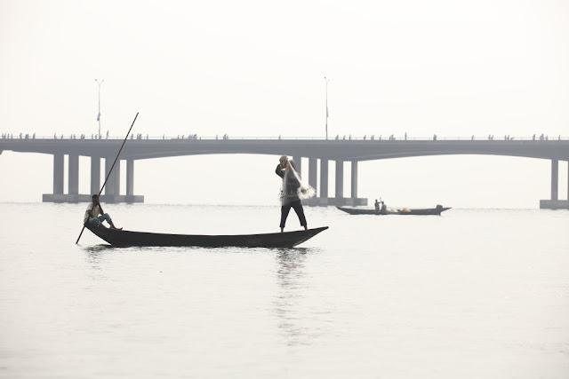 running on the bridge or fishing in the lagoon