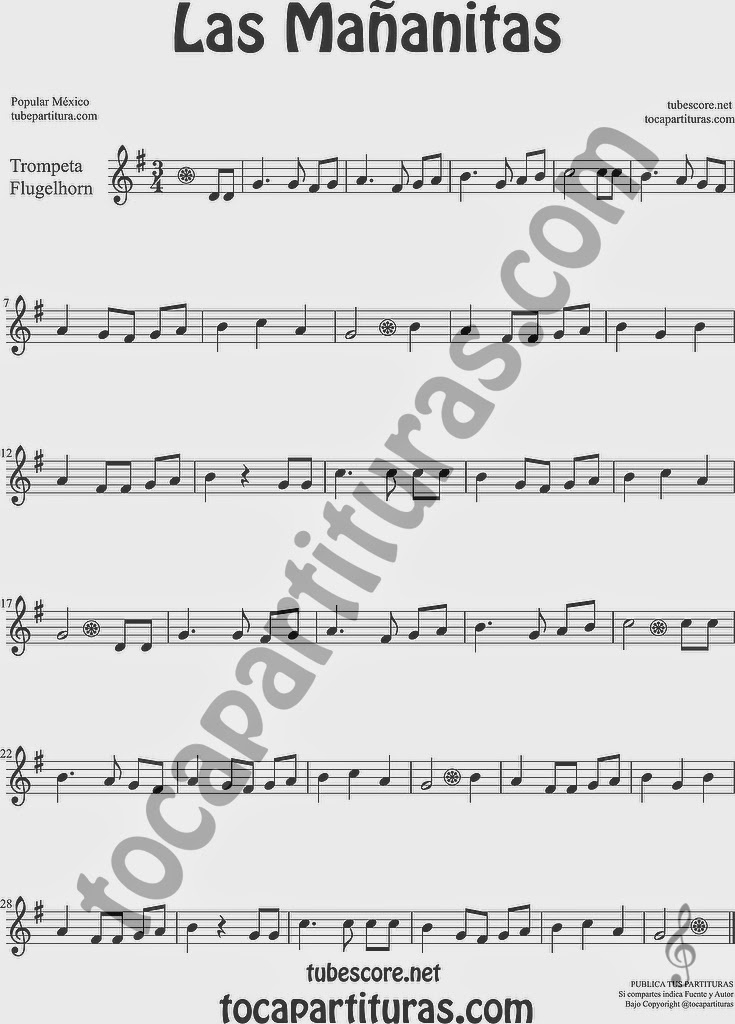 Las Mañanitas Partitura de Trompeta y Fliscorno Sheet Music for Trumpet and Flugelhorn Music Scores