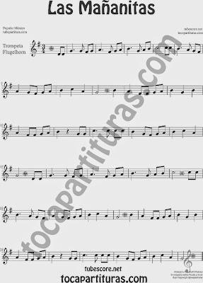 Las Mañanitas Partitura de Trompeta y Fliscorno Sheet Music for Trumpet and Flugelhorn Music Scores