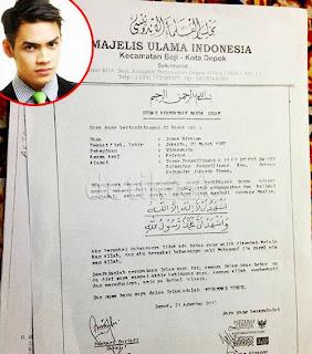 Foto Surat Pernyataan Masuk Islam Jonas Rivano