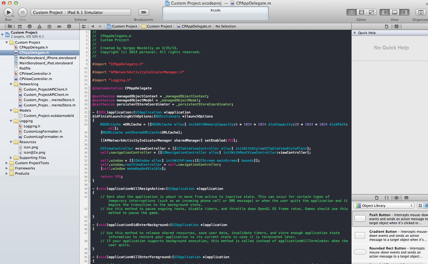 Creating project template for Xcode 4 x: CocoaPods, adding project