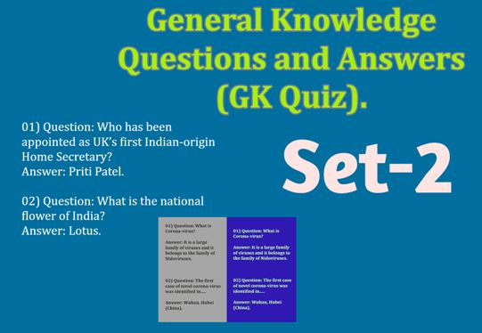 General Knowledge Question and Answer, GK Quiz Set-2.
