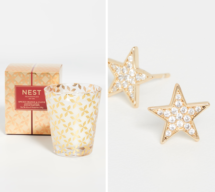 nest candle, gorjana star earrings