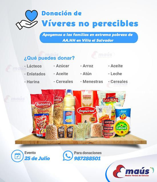 Campaña donación víveres no perecibles epara las familias de aa.hh en Villa el Salvador