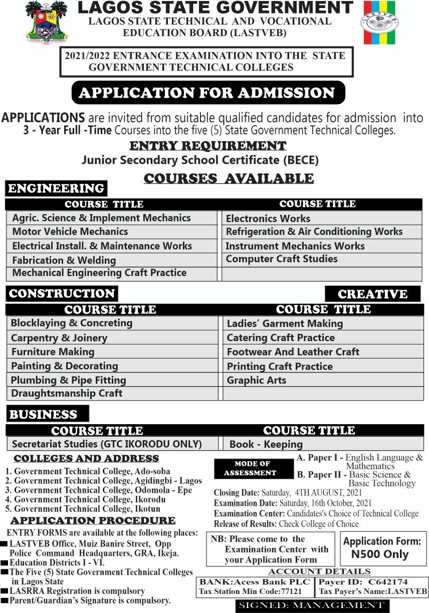 LASTVEB Government Technical Colleges Admission Form 2021/2022