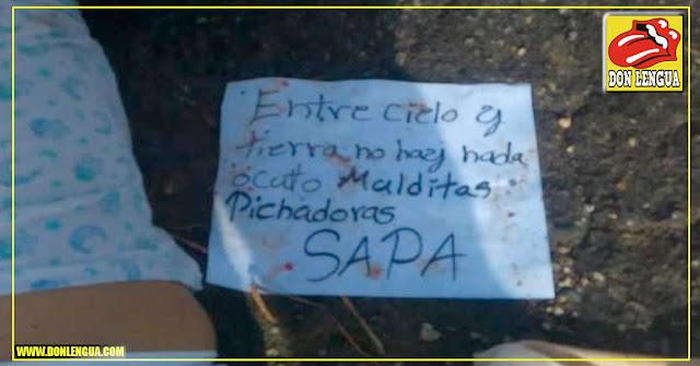 """Asesinaron a una mujer en Villa de Cura y le dejaron este cartel """"Por Sapa"""""""