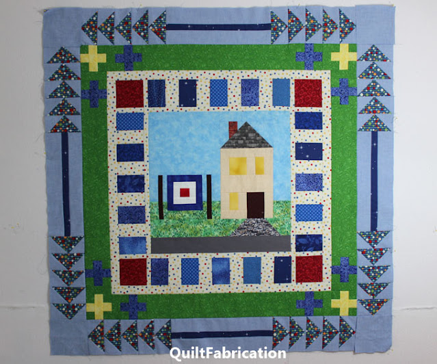 blue flying geese quilt border
