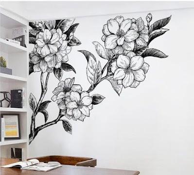 contoh gambar mural bunga