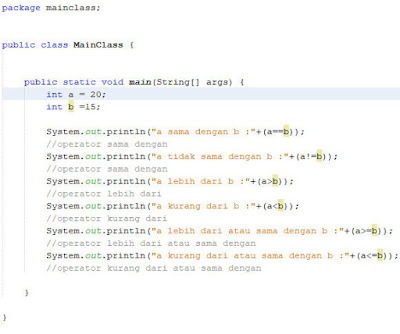 Penerapan Operator Relasi Java