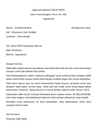 Contoh Surat Penawaran Negosiasi (via: brainly.co.id)