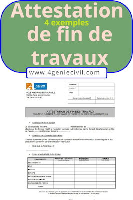 exemple attestation de fin de travaux pdf word