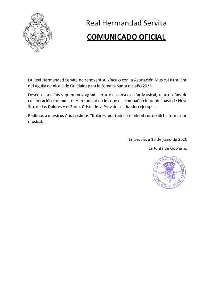 La Hermandad de Servita de Sevilla rompe con su banda cara al 2021