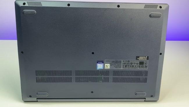 Back of the Lenovo IdeaPad Slim 3 laptop.