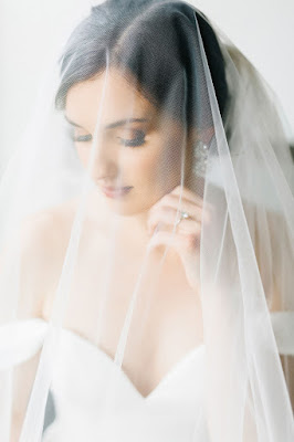 bride with veil covering face