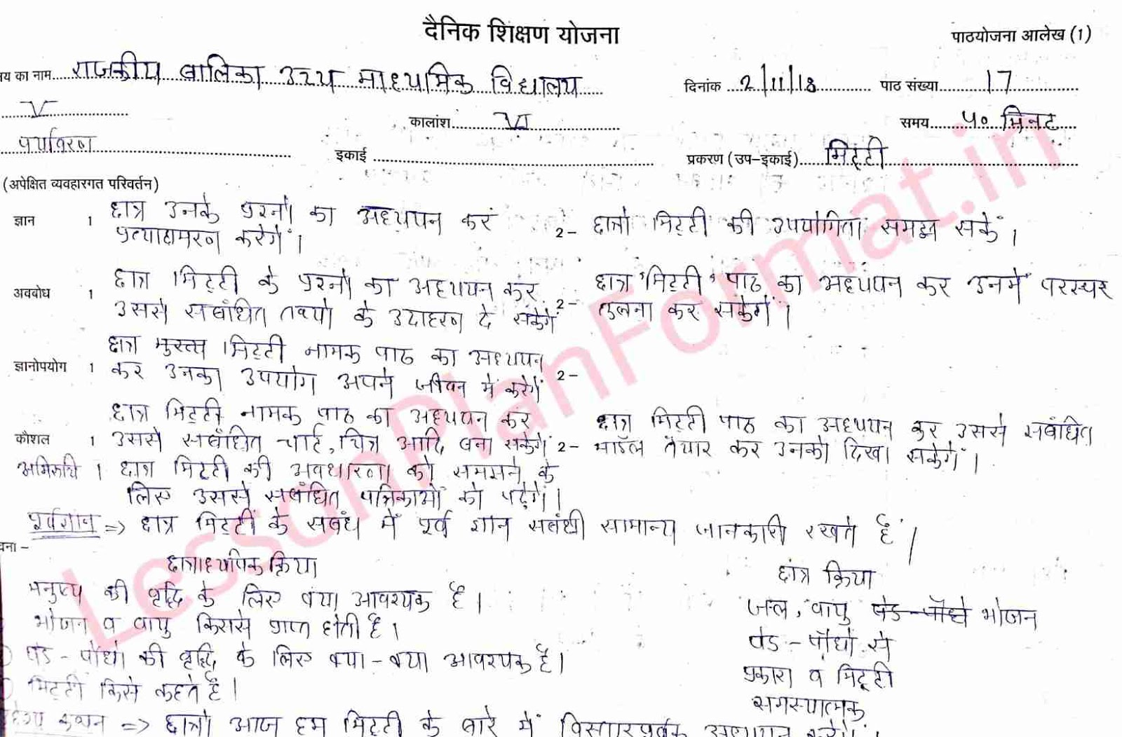 EVS Lesson Plan Class 5 in Hindi on Mitti