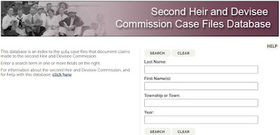 Screen capture of the Archives of Ontario Second Heir and Devisee Commission Case Files Database search page.