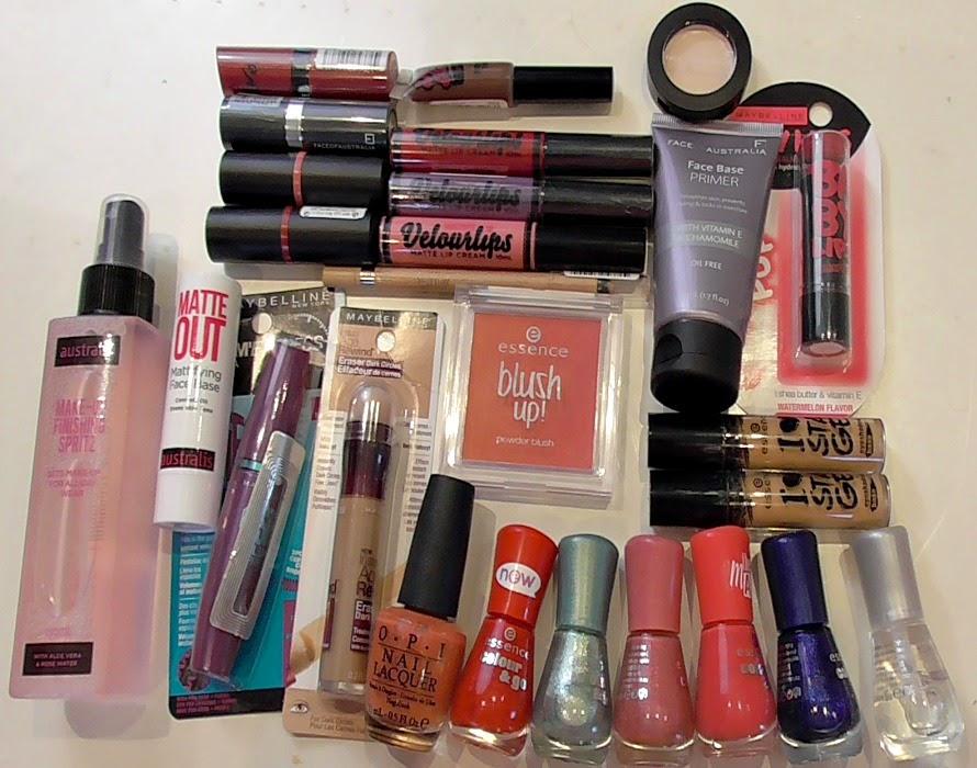 cda4db43fd2 (R - L top to bottom): Australis Makeup Finishing Spritz, Australis Matte  Out Mattifying Face Base, Rimmel Kate Moss Lipstick in 107, Face of  Australia Lip ...