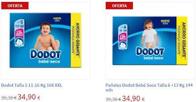Oferta de pañales Dodot Talla 5 y 6 en Carrefour online