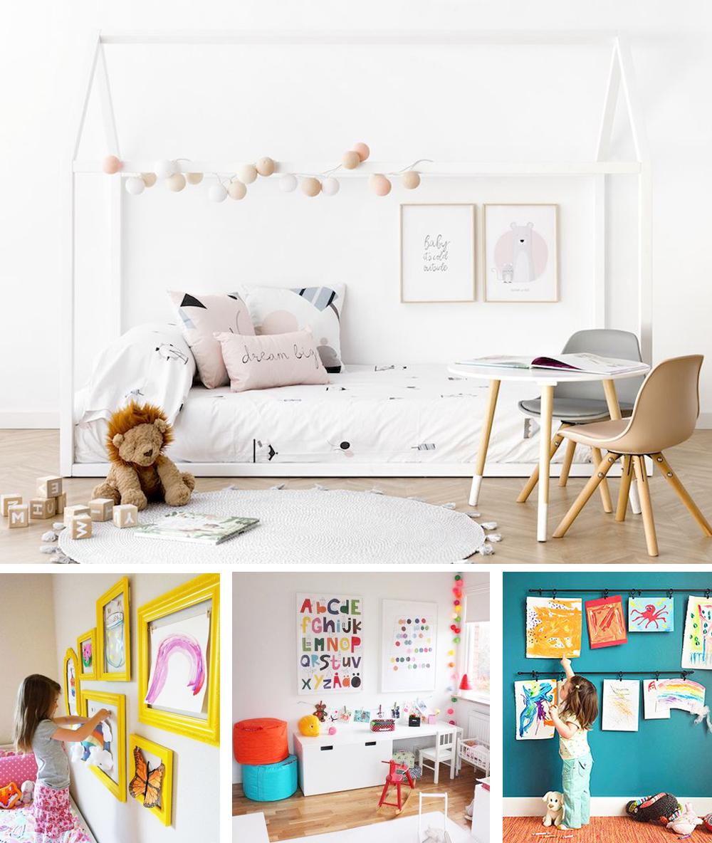 láminas para decorar habitación infantil montessori con dibujos infantiles