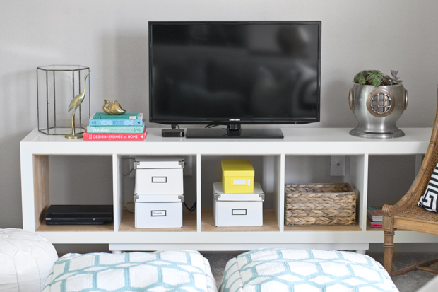 ikea hack shelving unit to tv stand infarrantly creative. Black Bedroom Furniture Sets. Home Design Ideas