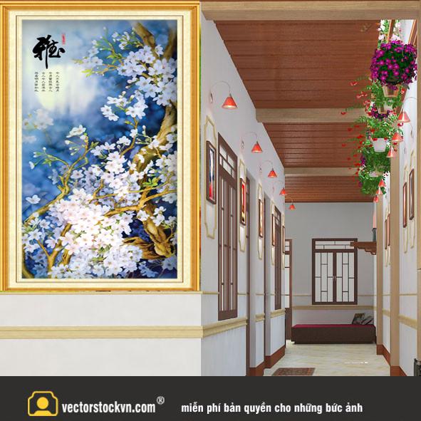 Tranh Hoa mùa xuân nở