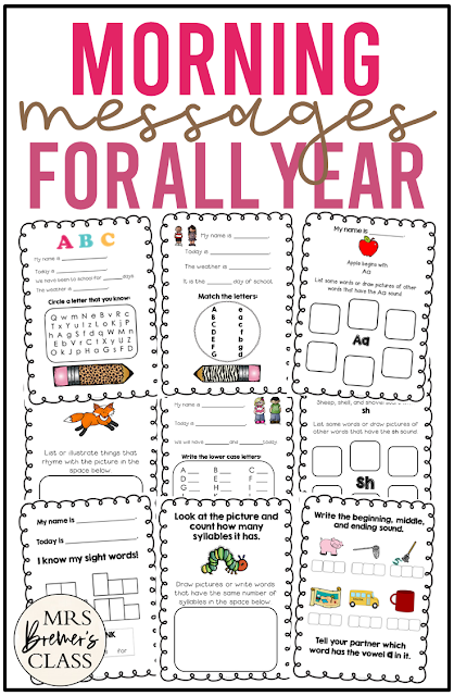 Morning Messages for all year, for practice with alphabet, CVC words, sight words, spelling, punctuation, sentences & more for Kindergarten and First Grade