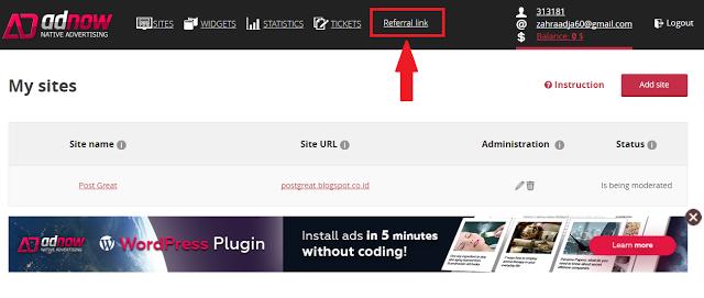 Pengertian Referral Link Adnow dan Cara Menggunakan-nya
