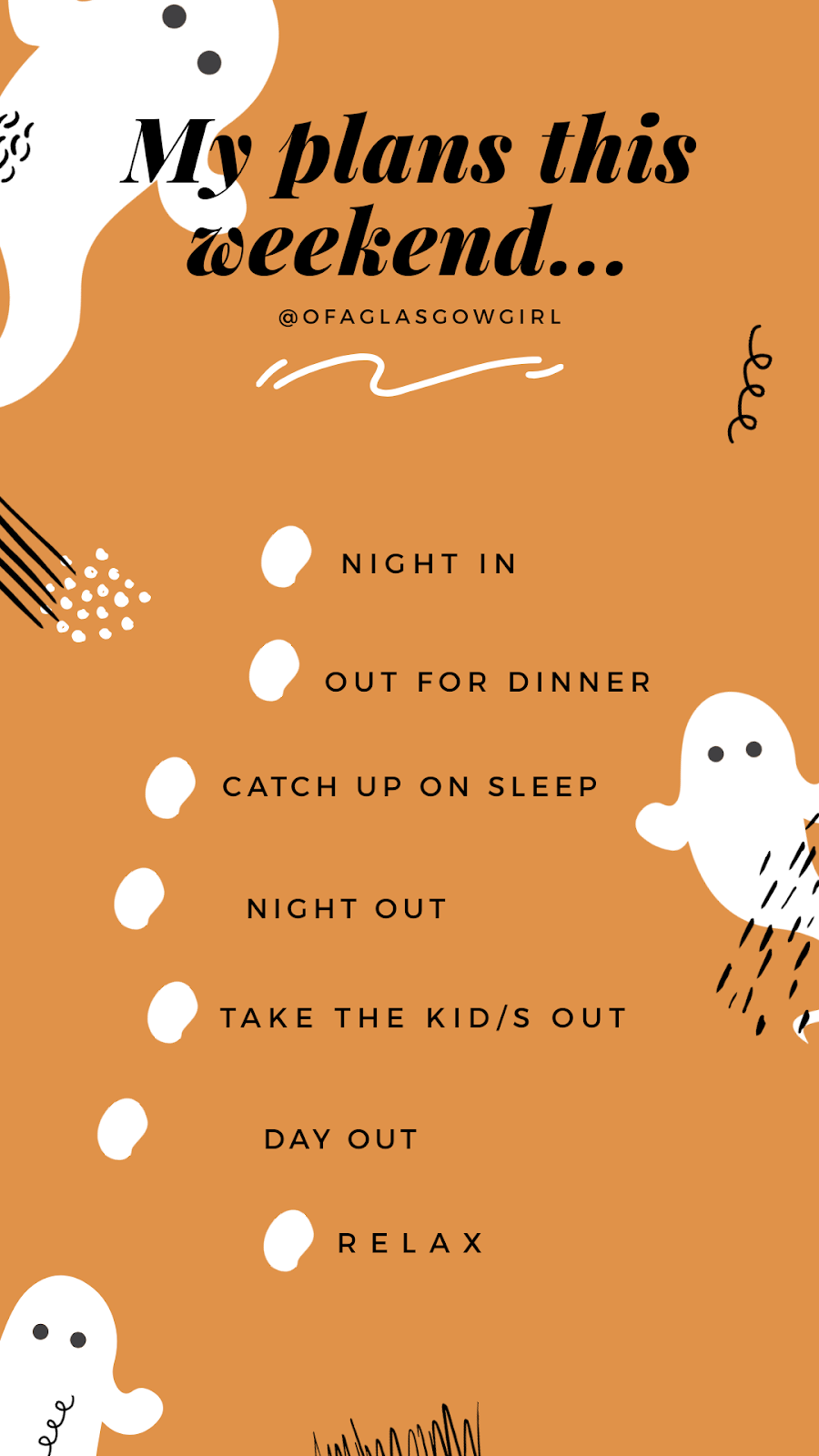 "Free halloween inspired Instagram story template,""My plans"" Multiple choice  template... on Thelifeofaglasgowgirl.co.uk"