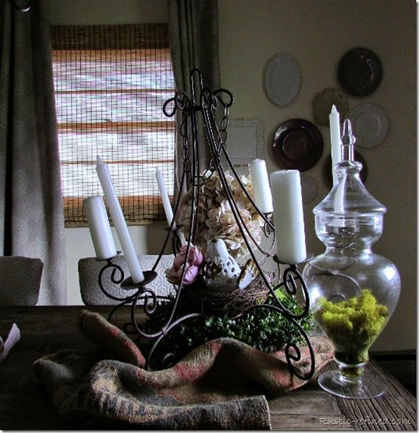 Rusty Chandelier Spring Tablescape