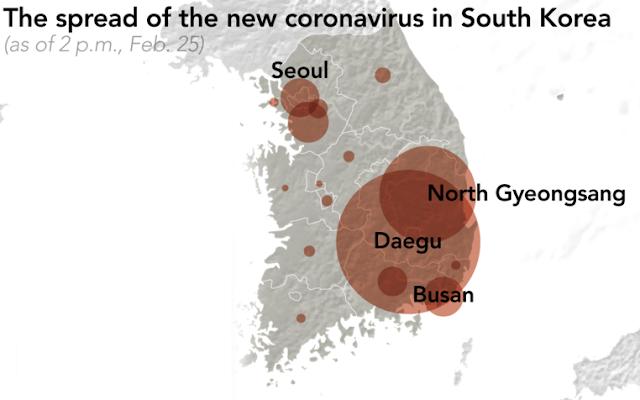 Южная Корея коронавирус карта