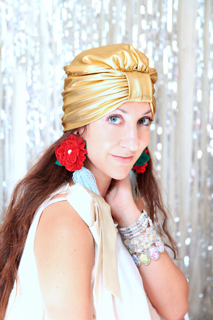 Gold Turban by Mademoiselle Mermaid - Holiday Party Style