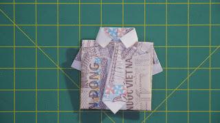 xếp tiền giấy áo sơ mi và và vạt money origami shirt + tie