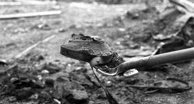A nitrate reel unearthed from the permafrost. Dawson City: Frozen Time.