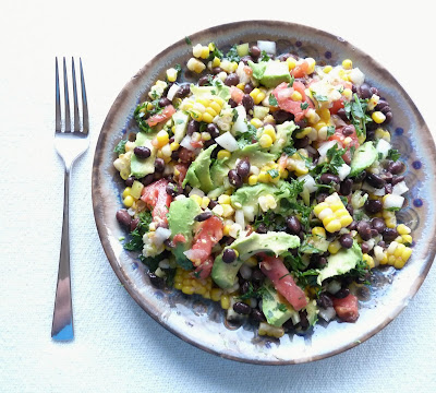 Black Bean, Corn, & Tomato Salad with Avocado