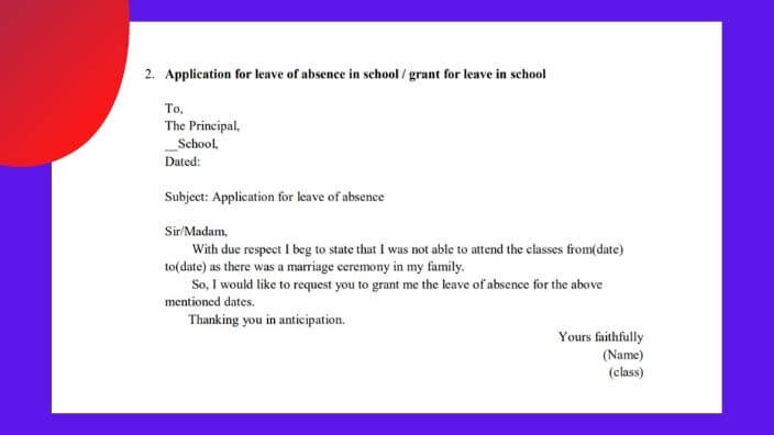 Application format for leave of absence in school english application writing