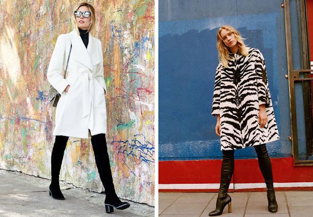Ботфорты-чулки с юбкой и укороченным пальто