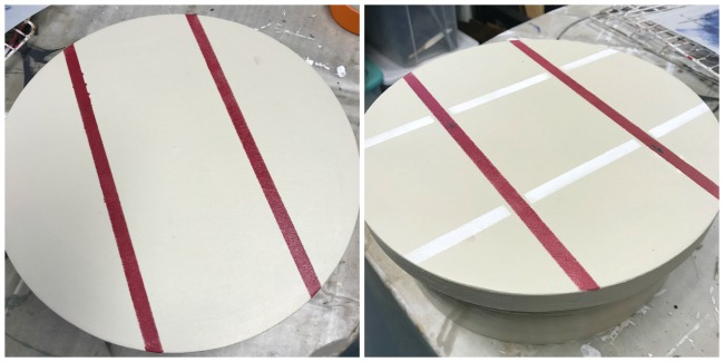 Adding plaid stencil to a lazy susan project