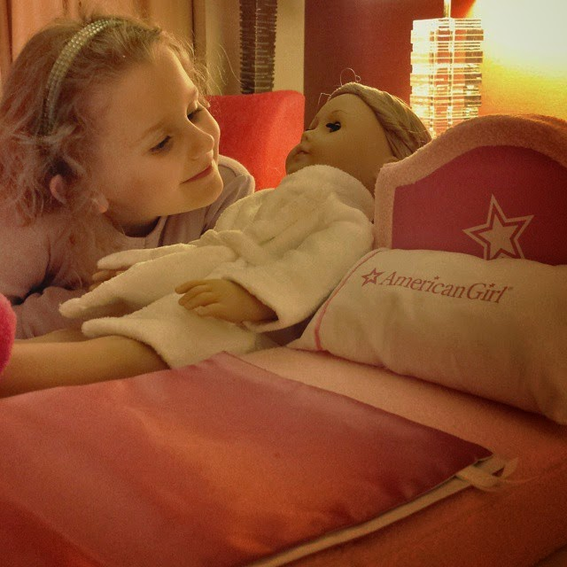 Doll-bed, robe, and doll slippers are included in American Girl package at Renaissance Charlotte South Park