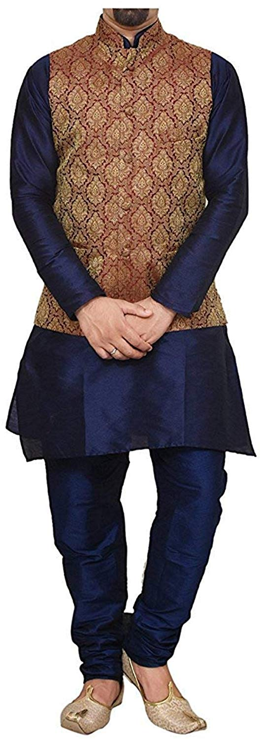 Uri and MacKenzie Men's Navy Blue Kurta Pyjama with Maroon Jacket