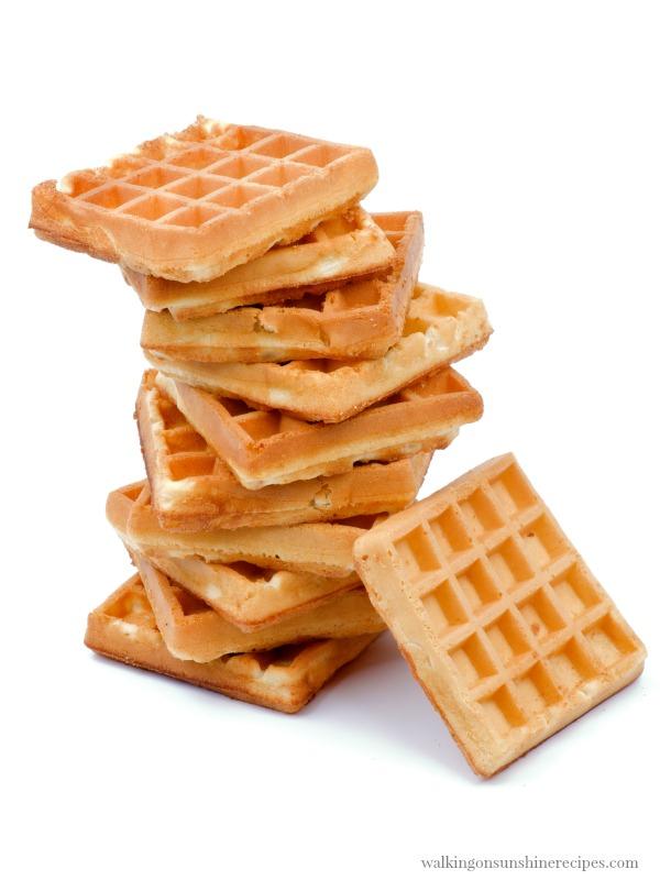 Stack of homemade Belgian Waffles | Walking on Sunshine