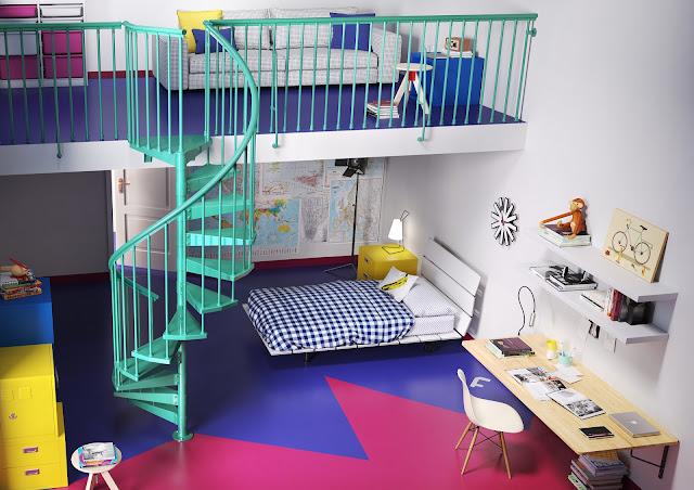 dormitorio infantil con escalera caracol