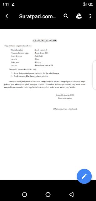 Surat pernyataan diri