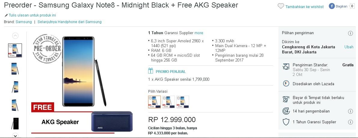 Harga Promo Pre-order Samsung Galaxy Note8 di Indonesia