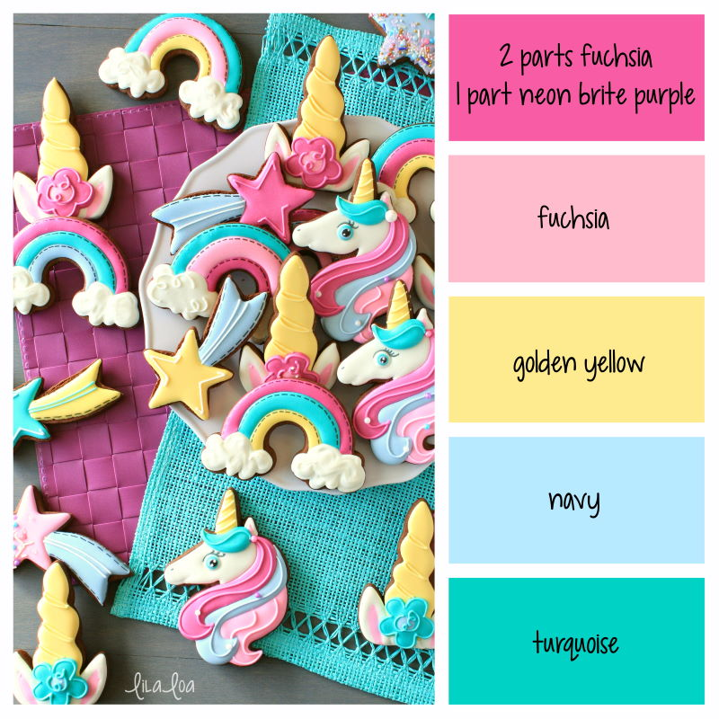Brightly colored decorated chocolate sugar cookies that look like unicorns, shooting stars and rainbows