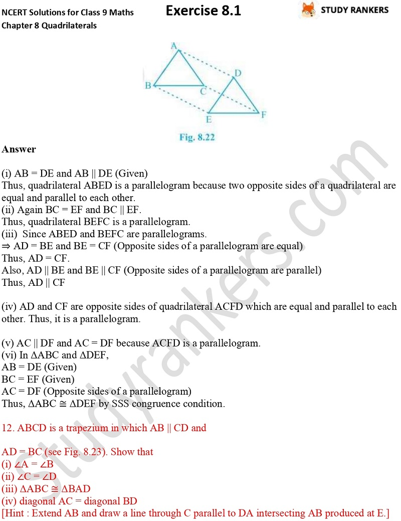 .NCERT Solutions for Class 9 Maths Chapter 8 Quadrilaterals Exercise 8.1 Part 8